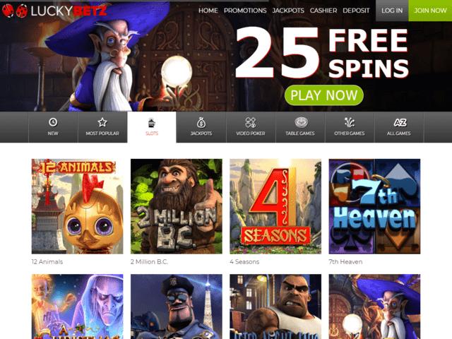 LuckyBetz Online Casino Lobby